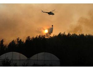 Kumlucadaki orman yangını sürüyor