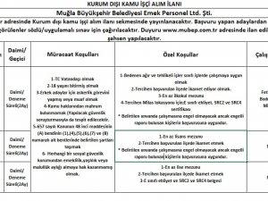 Muğla Büyükşehir Belediyesi Eleman Alacak!